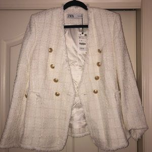 Zara White Tweed Jacket with Gold Button Detail